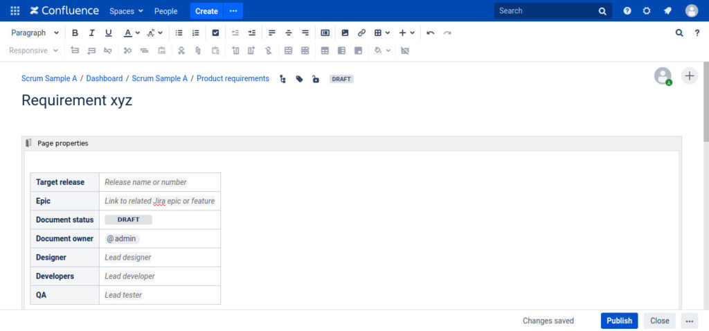 Screenshot Confluence Requirement Template