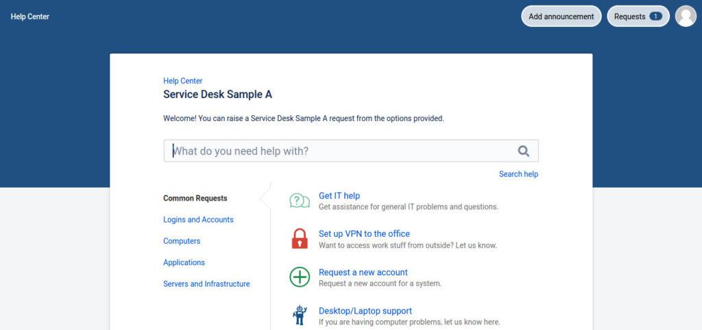 Screenshot Atlassian Service Desk Customer Portal