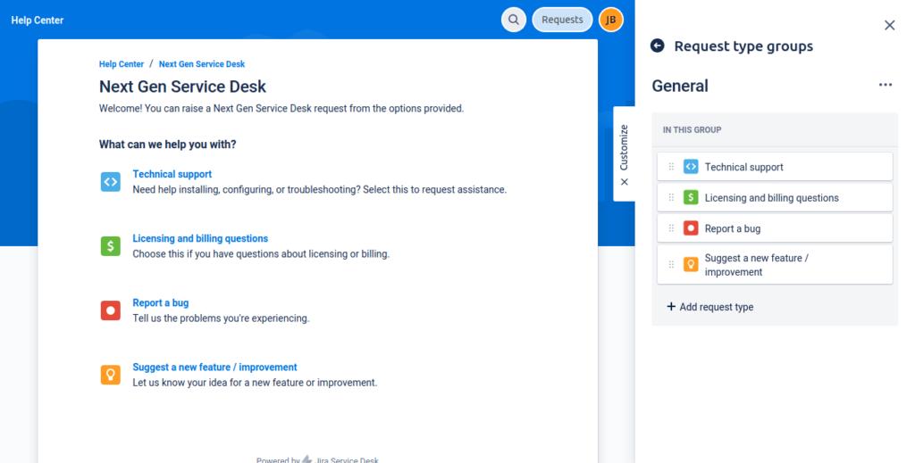 Next Gen Service Desk Customer Portal Settings