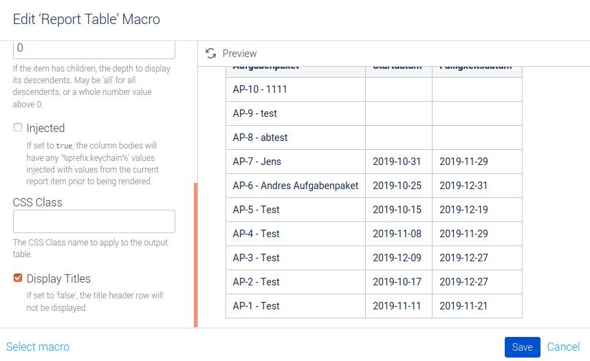 Konfiguration der Tabelle zum Gantt-Chart Teil 1