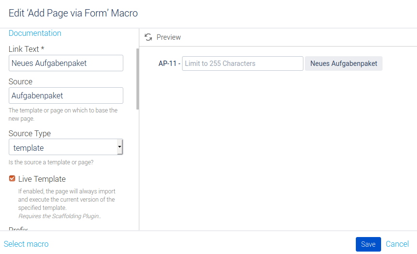 Konfiguration Macro Button Neues Aufgabenpaket Teil 1