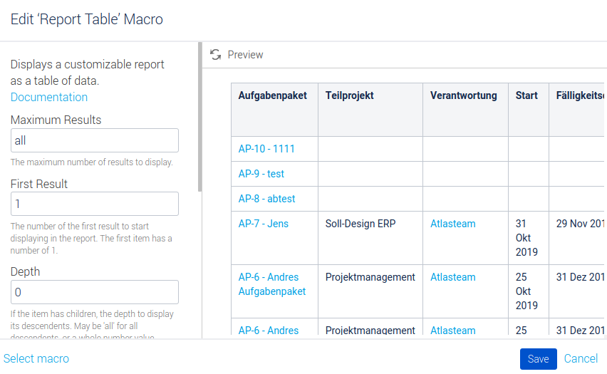 Konfiguration Macro Tabelle Aufgabenpakete Teil 1