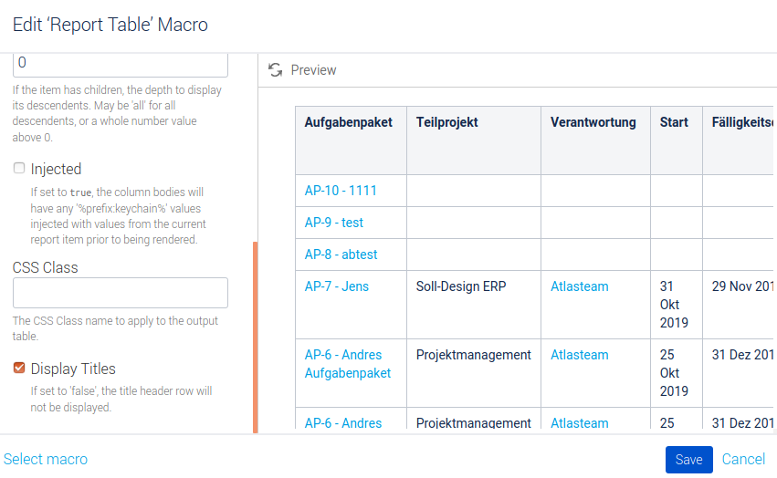 Konfiguration Macro Tabelle Aufgabenpakete Teil 2