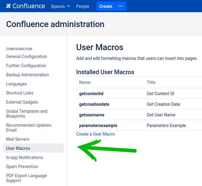 Confluence User Macro Admin Panel