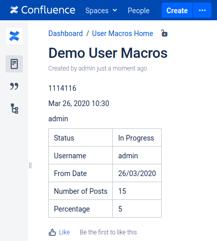 Confluence User Macro Seite