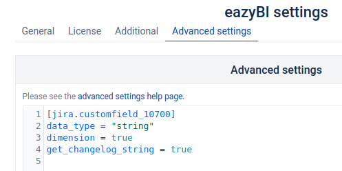 String field as a new dimension in eazyBI