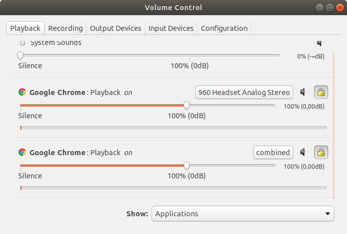 PulseAudio Volume Control settings for Playback