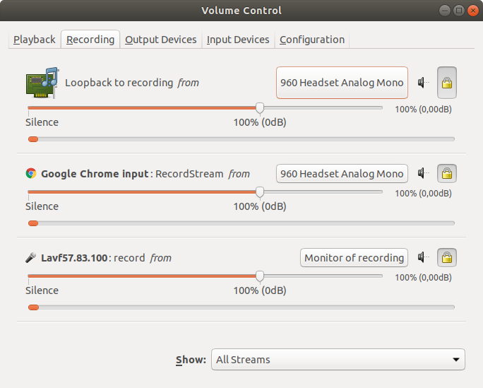 PulseAudio Volume Control settings for Recording