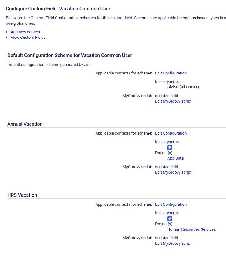 Custom field configurations