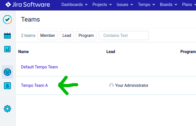 Team created in Tempo