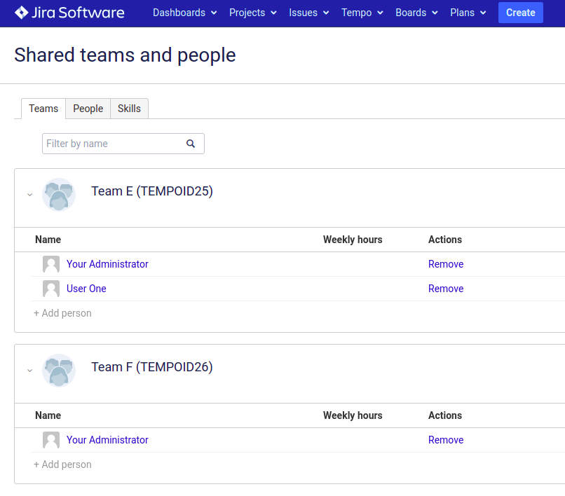 Tempo teams with members as shared teams in Advanced Roadmaps